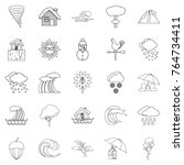 rainy weather icons set.... | Shutterstock .eps vector #764734411