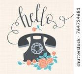 "hand drawn lettering ""hello""... | Shutterstock .eps vector #764734681"