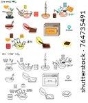 recipe chocolate brownie cake... | Shutterstock .eps vector #764735491