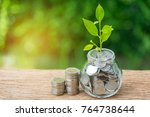 grow sprout plant in saving jar ... | Shutterstock . vector #764738644