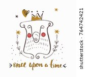 fairy tale   cartoon bear king ... | Shutterstock .eps vector #764742421