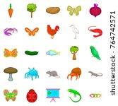 natural area icons set. cartoon ... | Shutterstock .eps vector #764742571