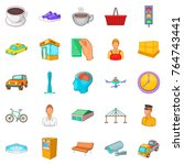 industrial area icons set.... | Shutterstock .eps vector #764743441