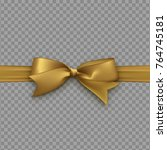 golden bow on ribbon isolated... | Shutterstock .eps vector #764745181