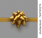 golden bow on ribbon isolated...