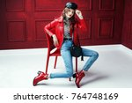 full body studio fashion... | Shutterstock . vector #764748169