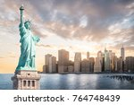 the statue of liberty with... | Shutterstock . vector #764748439