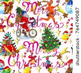 Seamless Pattern With Santa On...