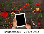 christmas online shopping.... | Shutterstock . vector #764752915