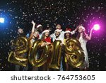 office christmas party. group... | Shutterstock . vector #764753605