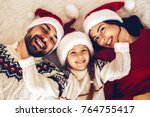 christmas family  happy mom dad ... | Shutterstock . vector #764755417