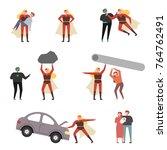 behavior of superheroes helping ...   Shutterstock .eps vector #764762491