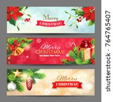 christmas banners with... | Shutterstock .eps vector #764765407