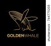 golden whale vector logo   Shutterstock .eps vector #764775205