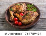 grilled chicken legs with...   Shutterstock . vector #764789434