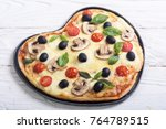love italian pizza . heart for... | Shutterstock . vector #764789515