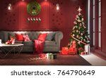 christmas party at night  in... | Shutterstock . vector #764790649