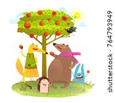 baby animals friends and apple... | Shutterstock . vector #764793949