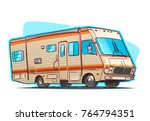 old recreation vehicle camper.... | Shutterstock .eps vector #764794351