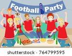 cartoon people celebrate with... | Shutterstock .eps vector #764799595