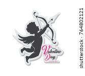 happy valentine day with angel... | Shutterstock .eps vector #764802121