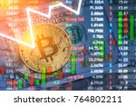 bitcoin and dollar.  btc market ... | Shutterstock . vector #764802211