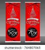 christmas sale roll up banner... | Shutterstock .eps vector #764807065