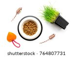Stock photo toy mouse for cat near dry food and grass in pot on white background top view 764807731