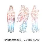 Set Of Virgin Mary Tattoo Art....