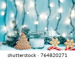 christmas gingerbread and milk... | Shutterstock . vector #764820271