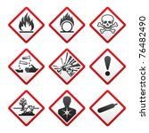 new hazard warning signs.... | Shutterstock .eps vector #76482490