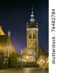 St. Catherine's church at night in Gdansk, Poland. - stock photo