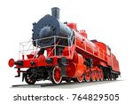 vintage locomotive red color... | Shutterstock . vector #764829505