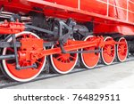 wheels of old steam locomotive... | Shutterstock . vector #764829511