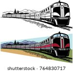 a passenger train traveling... | Shutterstock .eps vector #764830717