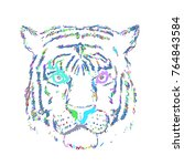 abstract tiger face on white... | Shutterstock .eps vector #764843584