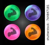 biceps of a man crystal ball... | Shutterstock .eps vector #764847181