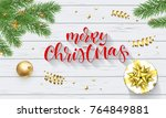 merry christmas holiday hand... | Shutterstock .eps vector #764849881