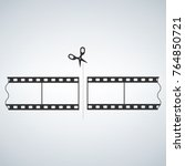 35 mm film strip cut with... | Shutterstock .eps vector #764850721