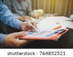 teamwork process  business...   Shutterstock . vector #764852521