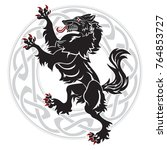 design werewolf and celtic... | Shutterstock .eps vector #764853727