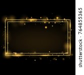 vector golden frame with lights ... | Shutterstock .eps vector #764855365