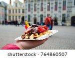 belgium waffle with chocolate... | Shutterstock . vector #764860507