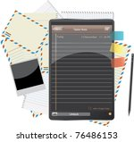 paper tablet and envelop | Shutterstock .eps vector #76486153