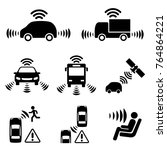 autonomous car icon set. driver ... | Shutterstock .eps vector #764864221