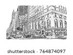 sketch illustration of new york ... | Shutterstock .eps vector #764874097