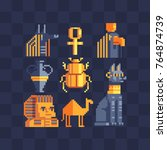 pixel art icons set. egyptian... | Shutterstock .eps vector #764874739