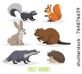 cartoon forest animals set.... | Shutterstock .eps vector #764876659
