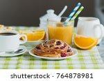 cup of coffee  muesli  baking... | Shutterstock . vector #764878981