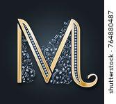 vector letter m. golden...   Shutterstock .eps vector #764880487